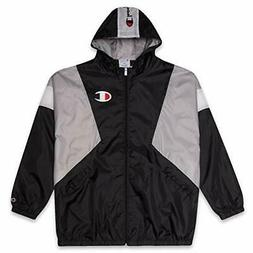 Champion Mens Big and Tall Colorblock Zip Up Hooded Nylon Wi