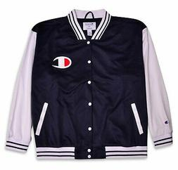 Champion Mens Big and Tall Script Logo Varsity Track Jacket