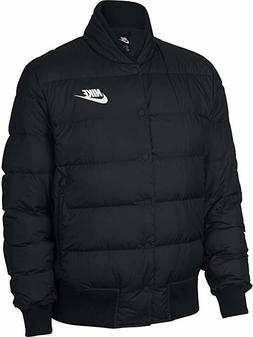 Mens Nike Black Down Filled Snap Puffer Jacket Coat Large Zi