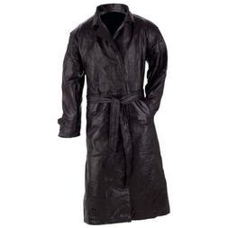 TRENCH COAT Mens Black Genuine Leather Full Length LinedDust