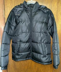 Mens Cherokee Black Hooded Puffer Jacket Size Medium