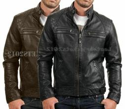 Mens Black Biker Leather Jacket Genuine Sheep Skin Leather S