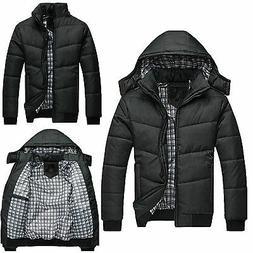 Mens Black Puffer Jacket Warmer Overcoat Outwear Padded Hood