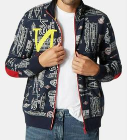 Nautica Mens Blue Sail Printed Embroidered Logo Track Jacket