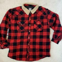 DICKIES Mens BUFFALO PLAID Twill Shirt Jacket with SHERPA Co