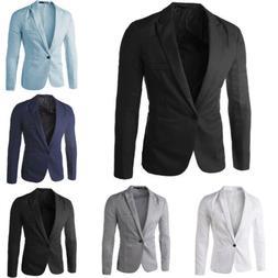Mens Business Formal Work Blazer Coat Jacket Slim One Button