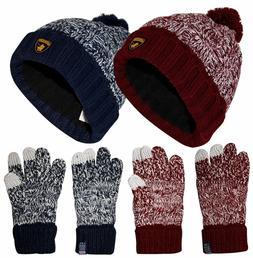 Mens Cable Knit Ski Winter Touch Gloves Women Cap Unisex Pom