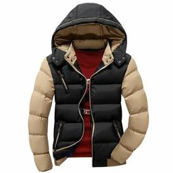 Mens Casual Jacket Coats Cotton Outwear Winter Warm Hooded D