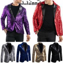 Mens Casual Slim Fit One Button Suit Clubwear Blazer Sequin