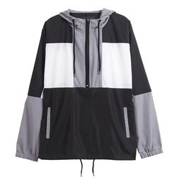 Mens Color Block Hooded Lightweight Windbreaker Pullover Zip