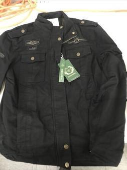 Wenven Men's Cotton Casual Military Jacket-Black US Size M
