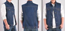 Mens Dark Denim Vest Jacket Sleeveless washed  Motojacket Bi