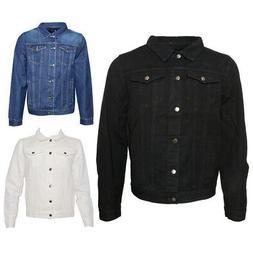 Mens Denim Jean Jacket Button Up Slim Fit Premium Cotton DBF