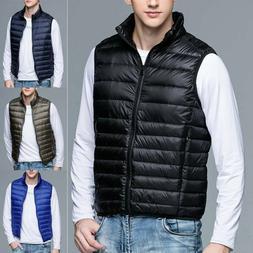 Mens Duck Down Puffer Gilet Vest Body Warmer Waistcoat Padde
