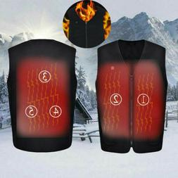 Mens Electric Vest Heated Jacket USB Thermal Warm Heated Pad
