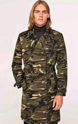 Zara Mens Fashion Dept Camo Camouflage Long Trench Coat Jack