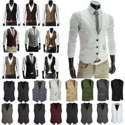 Mens Formal Business Vest Blazer Suits Slim Tuxedo Waistcoat