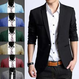 Men Formal Suit Blazer Coat Business Casual One Button Slim