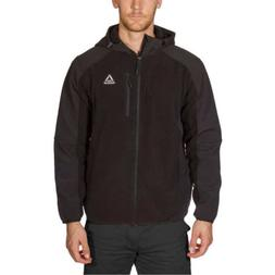 Reebok Mens Full Zip Hoodie Jacket Black Fleece Mixed Media