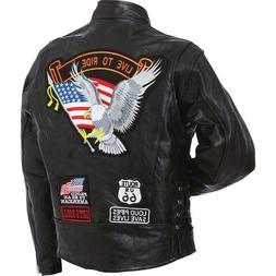 Mens Genuine Buffalo Patchwork Leather Motorcycle Jacket w E
