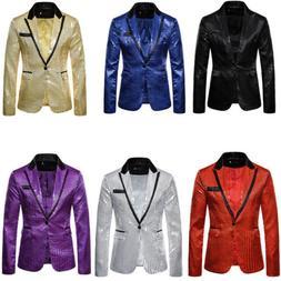 Mens Glitter Sequin Suit Jacket Notch Lapel Blazer One Butto