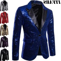 Mens Gorgeous Sequins Wedding Party Tuxedo Dinner Formal Sui