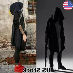 Mens Gothic Steampunk Outwear Hooded Coat Long Trench Jacket