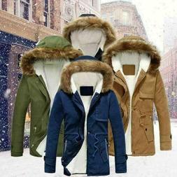 Mens Hooded Fur Collar Coat Thicken Jacket Warm Winter Parka