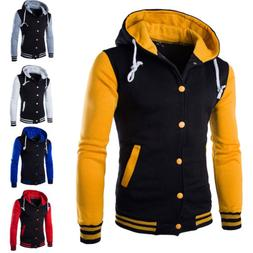 Mens Hoodie Baseball Varsity College Button Jacket Sweatshir