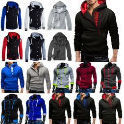Mens Hoodie Sweatshirt Hooded Pullover Jumper Winter Coat Ja