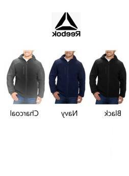 Reebok Mens Hybrid Softshell Fleece Hooded Jacket Black, Nav