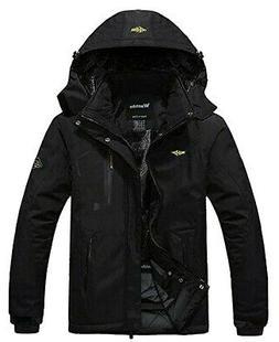 Wantdo Mens Jacket Deep Black Size 2XL Sherpa Lined Full-Zip