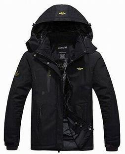 Wantdo Mens Jacket Deep Black Size Large L Logo Sherpa Lined