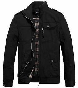 Wantdo Mens Jacket Deep Black Size XL Full-Zip Military Mock