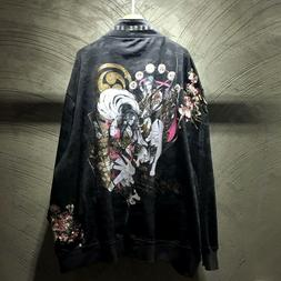 Mens Jacket Japanese Pattern Embroidered Sword Girls Ukiyo-e