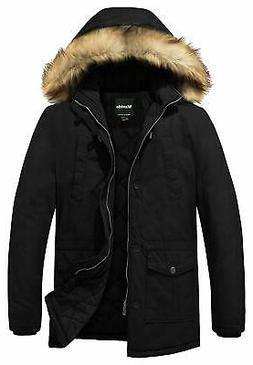 Wantdo Mens Jacket Jet Black Size XL Winter Zip-Front Thicke