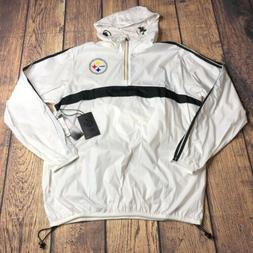 NFL Mens Large Pittsburgh Steelers 1/4 Zip Kangaroo Anorak W