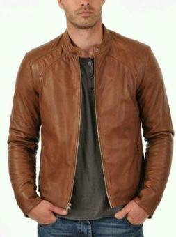 Mens Leather Jacket Men Motorcycle Real Lambskin Biker Coat
