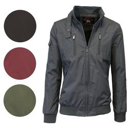 Mens Lightweight Jacket Moto Bomber Full Zip Water Repellent