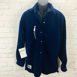 Bugle Boy Mens M Medium Fleece Jacket Blue PI TECH Snap Fron