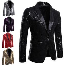 Mens New Tuxedo Suit Bling Sequin Gentleman One Button Dance