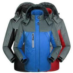 Mens Outdoor Snow Ski Fleece Jacket Hooded Windproof Sport C
