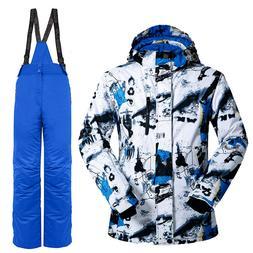 Mens Outdoor Waterproof Ski Snow Jacket + Pants Snowboard Bi