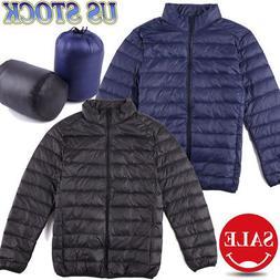Mens Packable Down Jacket Ultralight Puffer Jacket Zipper St