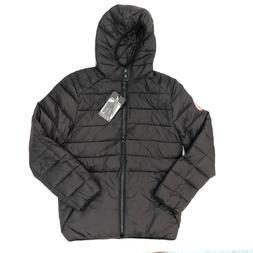 mens padded puffer lightweight jacket black red