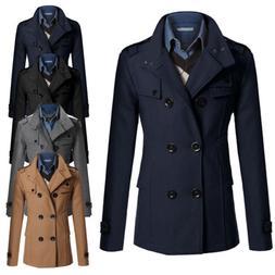 Men Double Breasted Long Trench Coat Winter Warm Outwear Jac