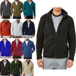 Mens Polar Fleece Long Sleeve Full Zipper Zip Up Jacket Wint