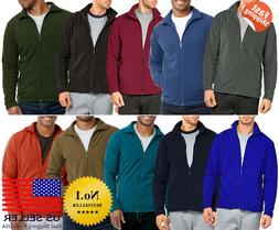 Mens Polar Fleece Long Sleeve Full Zipper Zip Up Jacket Soli