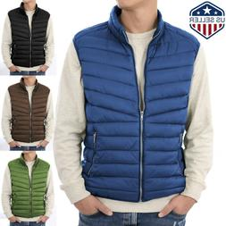 Mens Puffer Vest Jacket Bubble Coat Quilted Padded Outwear W