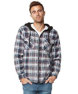 9 Crowns Mens Quilted Lightweight Plaid Flannel Hoodie Jacke